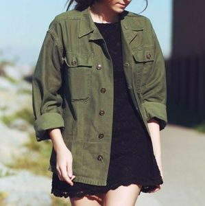 Military Green Long Sleeve Top